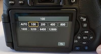 Canon EOS Digital SLR Camera ISO set to 100