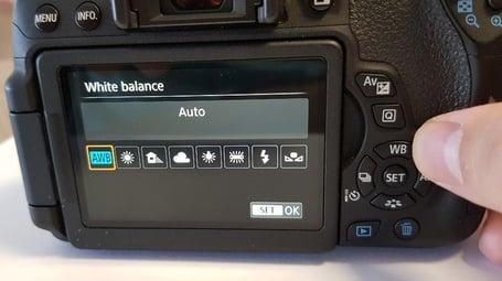 Canon EOS Digital SLR Camera WB Button, set to AWB