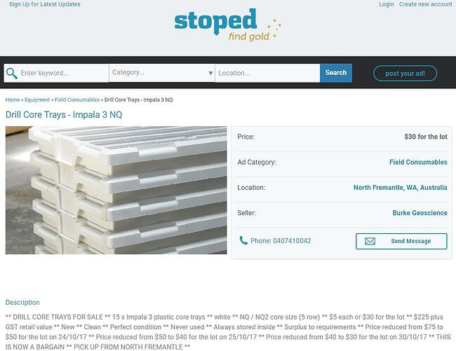 Impala Trays surplus to requirement being sold online