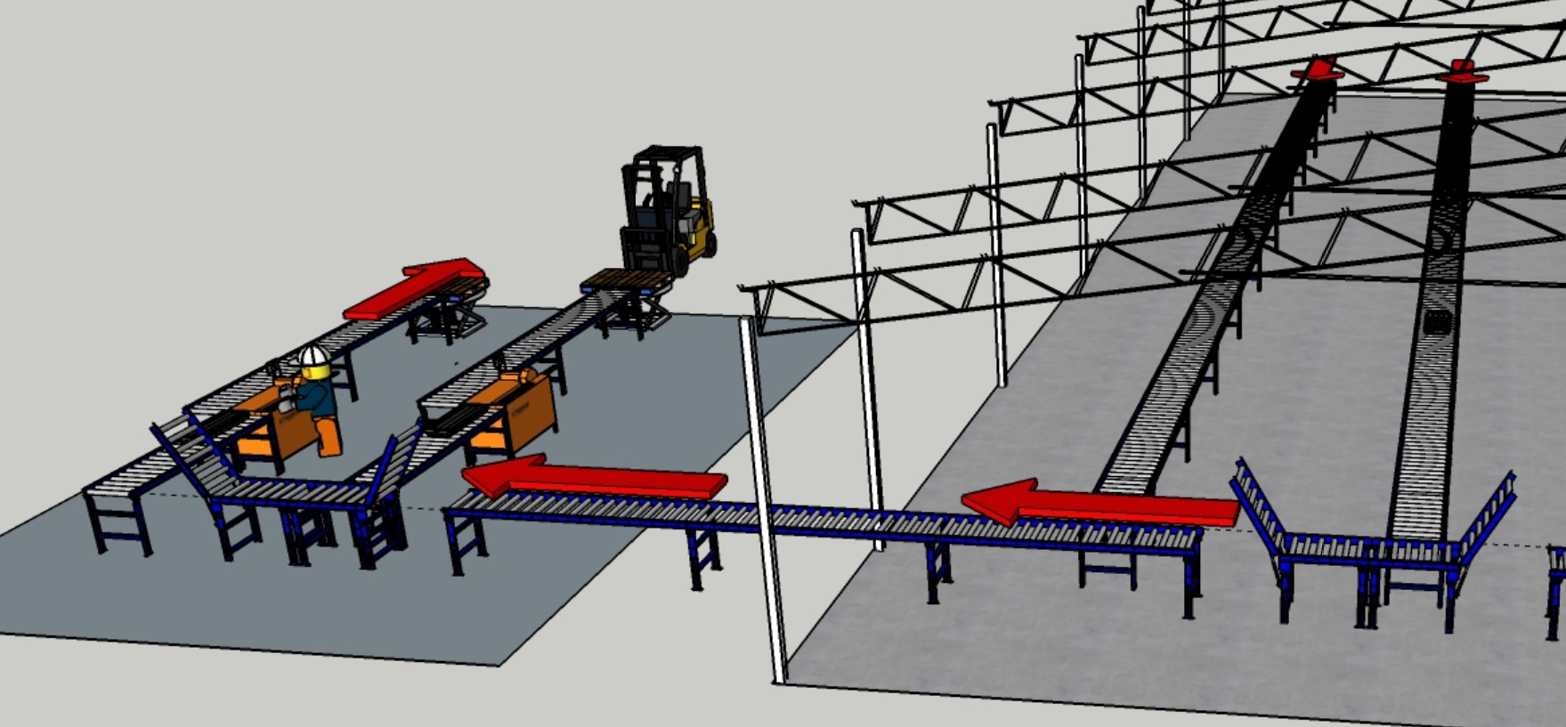 Roller Racking into Cutting Shed, Pallet Lifters