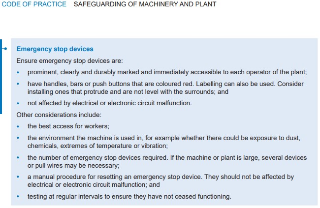 Code of Practice: Safeguarding of Machinery & Plant