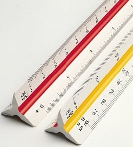 50 40 and 60 parts to the inch 20 30 Pacific Arc Engineer Triangle Scale Ruler 12 Inch with Acid Etched Markings in Fully Divided 10